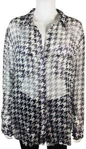 5b657390bf3df Equipment Black White Checkered Femme Tunic Blouse Button-down Top. Size  12  ...