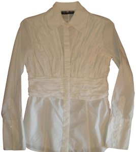 INC International Concepts Rouched Long Sleeve Button Front Cotton Button Down Shirt White