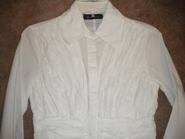 INC International Concepts Rouched Long Sleeve Button Front Cotton Button Down Shirt White Image 1