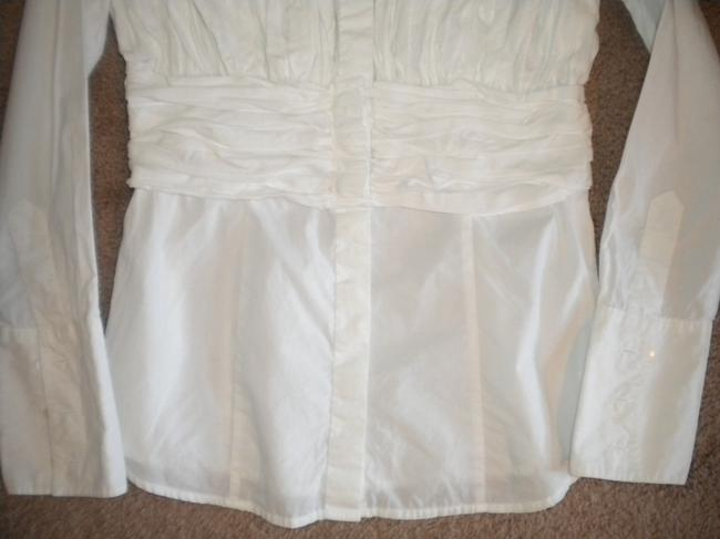 INC International Concepts Rouched Long Sleeve Button Front Cotton Button Down Shirt White Image 2