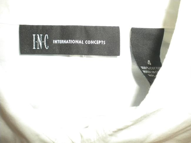 INC International Concepts Rouched Long Sleeve Button Front Cotton Button Down Shirt White Image 4