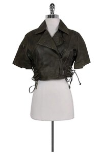 AllSaints Grey Leather Cropped green Jacket