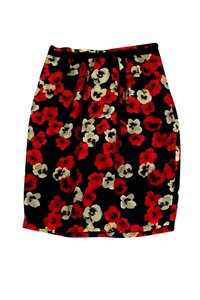 Moschino Cream Red Floral Skirt Black