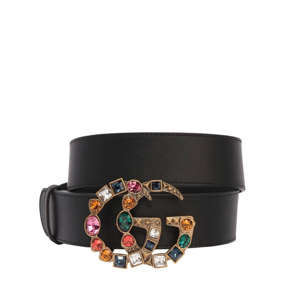 c14e9e28f0a Gucci Black Marmont 40mm Gg Multicolor Buckle Belt - Tradesy