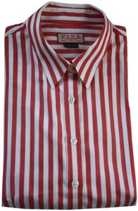 Thomas Pink Cotton Fitted Office Wear French Cuff Button Down Shirt Red Striped
