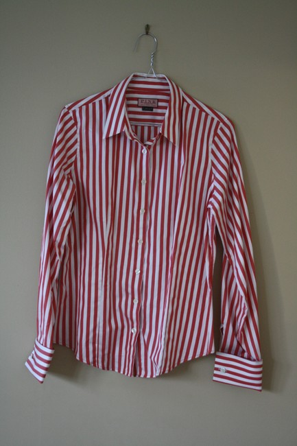 Thomas Pink Cotton Fitted Office Wear French Cuff Button Down Shirt Red Striped Image 1
