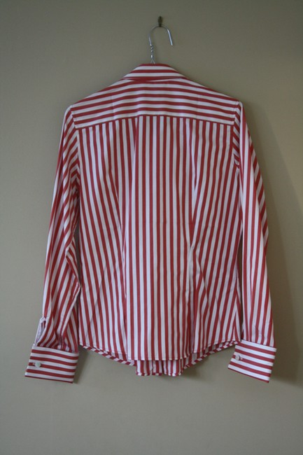 Thomas Pink Cotton Fitted Office Wear French Cuff Button Down Shirt Red Striped Image 2