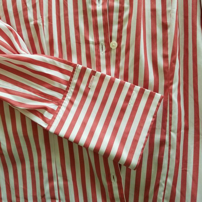 Thomas Pink Cotton Fitted Office Wear French Cuff Button Down Shirt Red Striped Image 5