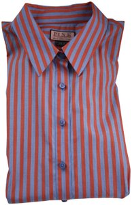 Thomas Pink Cotton Fitted Office Wear French Cuff Button Down Shirt Red, Blue Striped