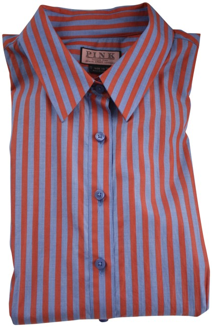 Item - Red Blue Striped Classic with Two-tone Cuff Knots Button-down Top Size 8 (M)