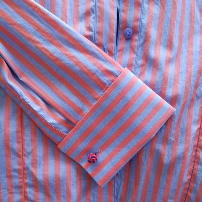 Thomas Pink Cotton Fitted Office Wear French Cuff Button Down Shirt Red, Blue Striped Image 1