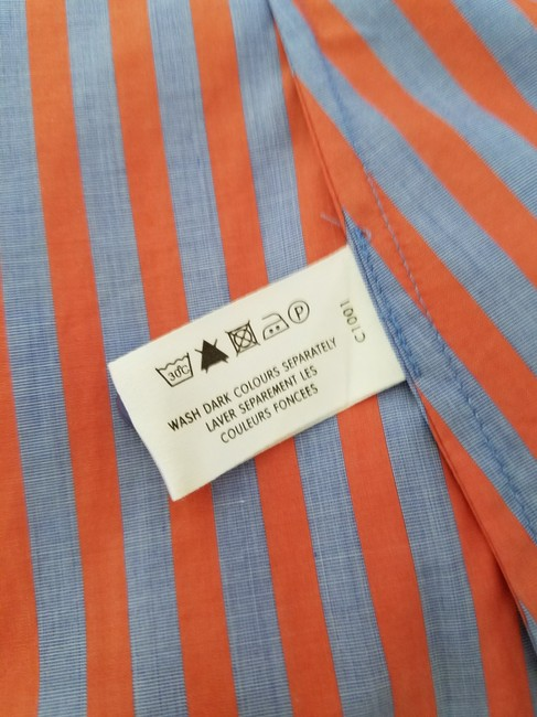 Thomas Pink Cotton Fitted Office Wear French Cuff Button Down Shirt Red, Blue Striped Image 3