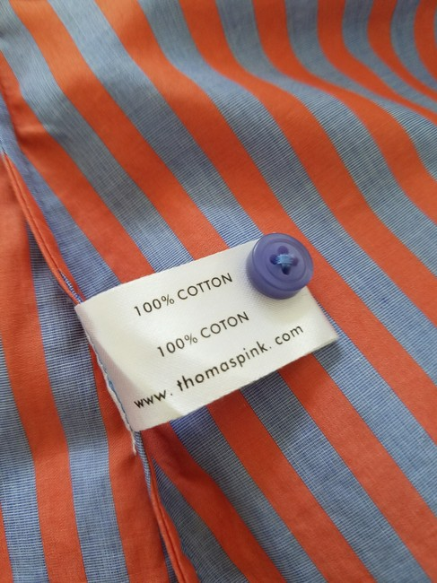 Thomas Pink Cotton Fitted Office Wear French Cuff Button Down Shirt Red, Blue Striped Image 4
