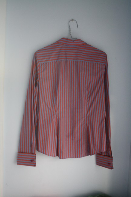Thomas Pink Cotton Fitted Office Wear French Cuff Button Down Shirt Red, Blue Striped Image 5