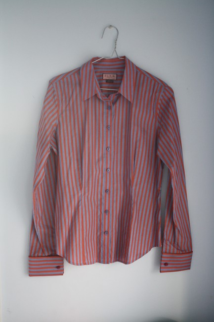 Thomas Pink Cotton Fitted Office Wear French Cuff Button Down Shirt Red, Blue Striped Image 6