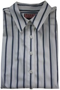 Thomas Pink Cotton Fitted Office Wear Button Down Shirt Blue Striped