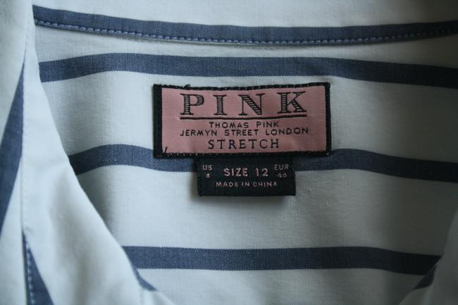 Thomas Pink Cotton Fitted Office Wear Button Down Shirt Blue Striped Image 1