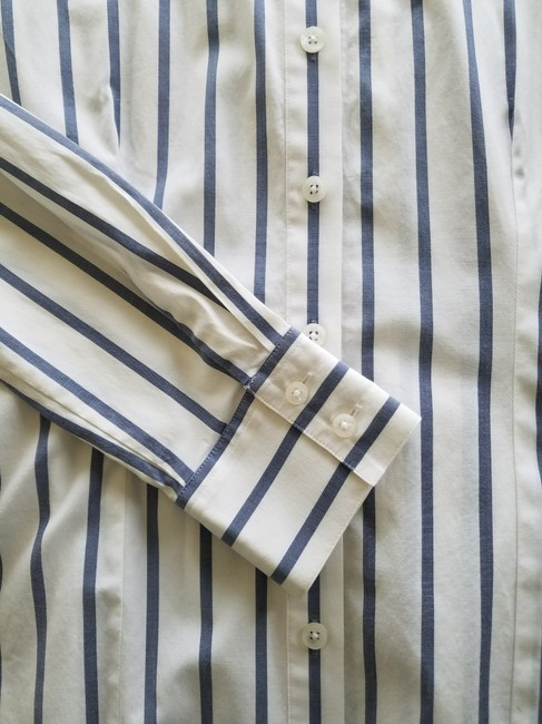 Thomas Pink Cotton Fitted Office Wear Button Down Shirt Blue Striped Image 2