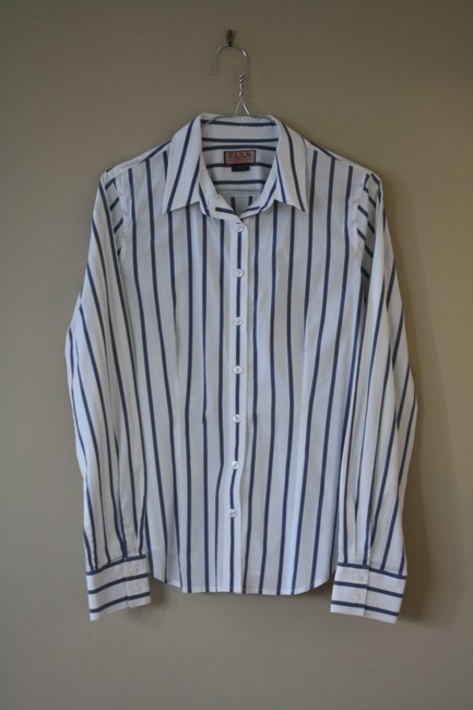 Thomas Pink Cotton Fitted Office Wear Button Down Shirt Blue Striped Image 3
