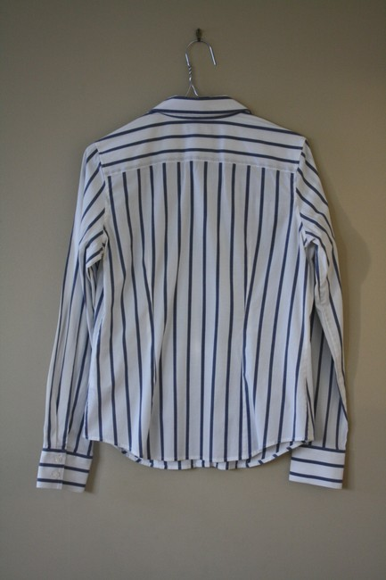 Thomas Pink Cotton Fitted Office Wear Button Down Shirt Blue Striped Image 4