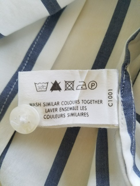 Thomas Pink Cotton Fitted Office Wear Button Down Shirt Blue Striped Image 5