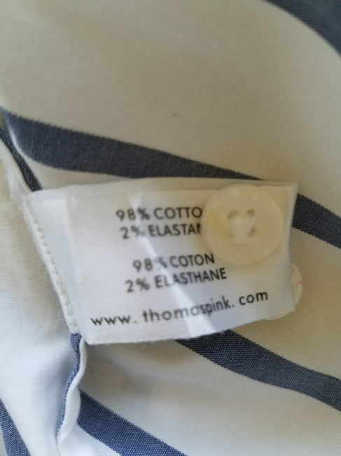 Thomas Pink Cotton Fitted Office Wear Button Down Shirt Blue Striped Image 6