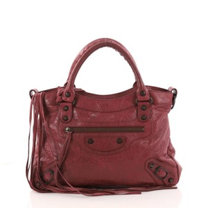 Balenciaga Leather Satchel in wine