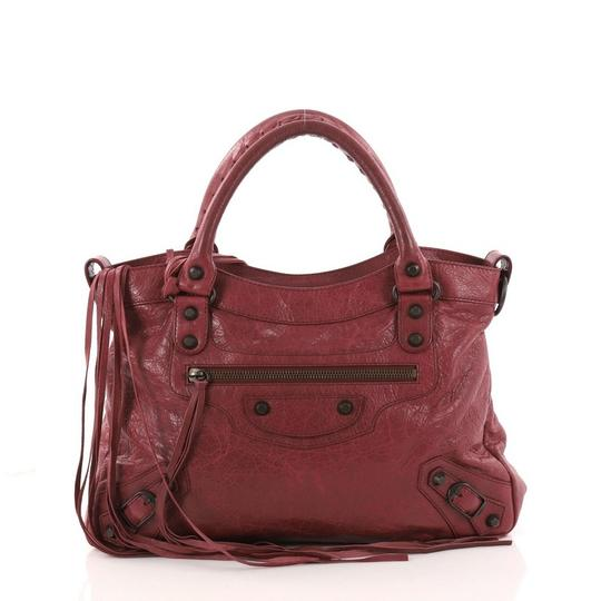 Balenciaga Leather Satchel in wine Image 0