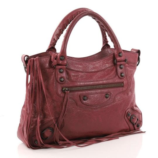 Balenciaga Leather Satchel in wine Image 2