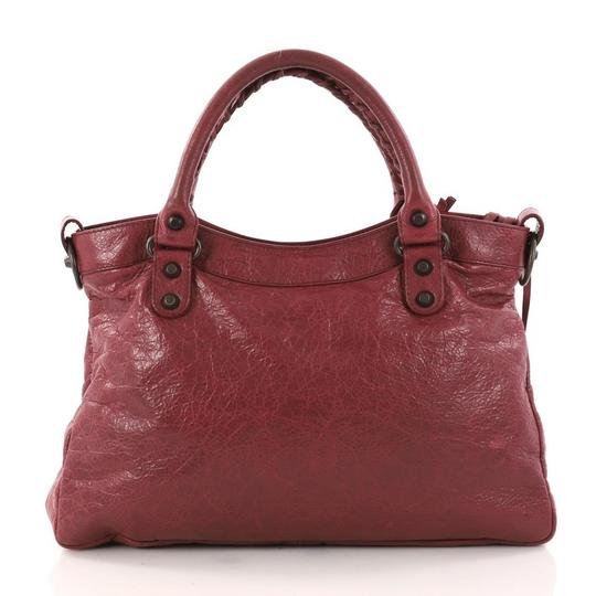 Balenciaga Leather Satchel in wine Image 3