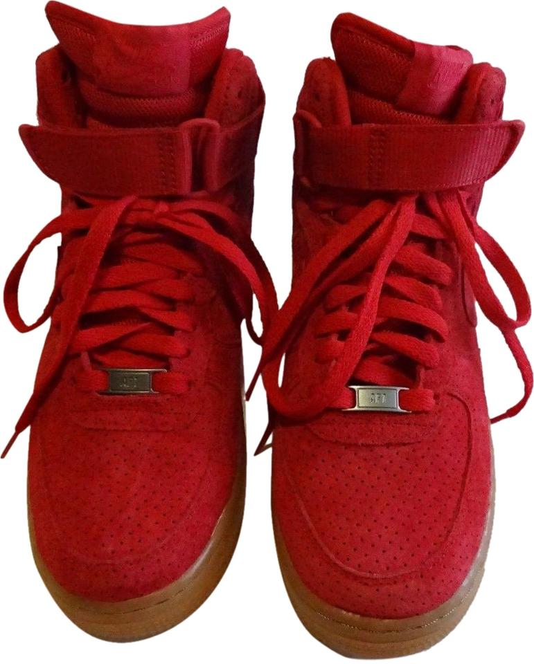 a11cf5a1ec6d32 Nike Red Women s Air Force 1 High Suede 2-3 Times Sneakers Size US ...