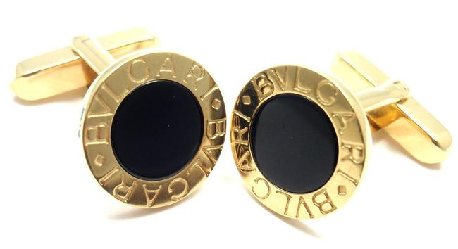 Item - Yellow Black Pair In Gold and Onyx Cufflinks/Studs