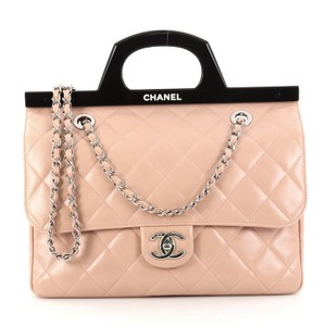 Chanel Calfskin Cc Delivery Tote in Nude Pink