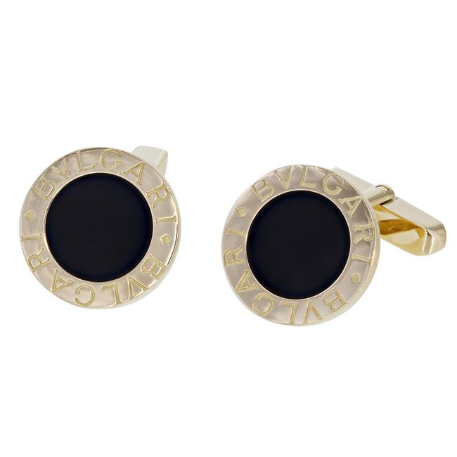Item - Yellow Pair In Gold and Onyx Cufflinks/Studs