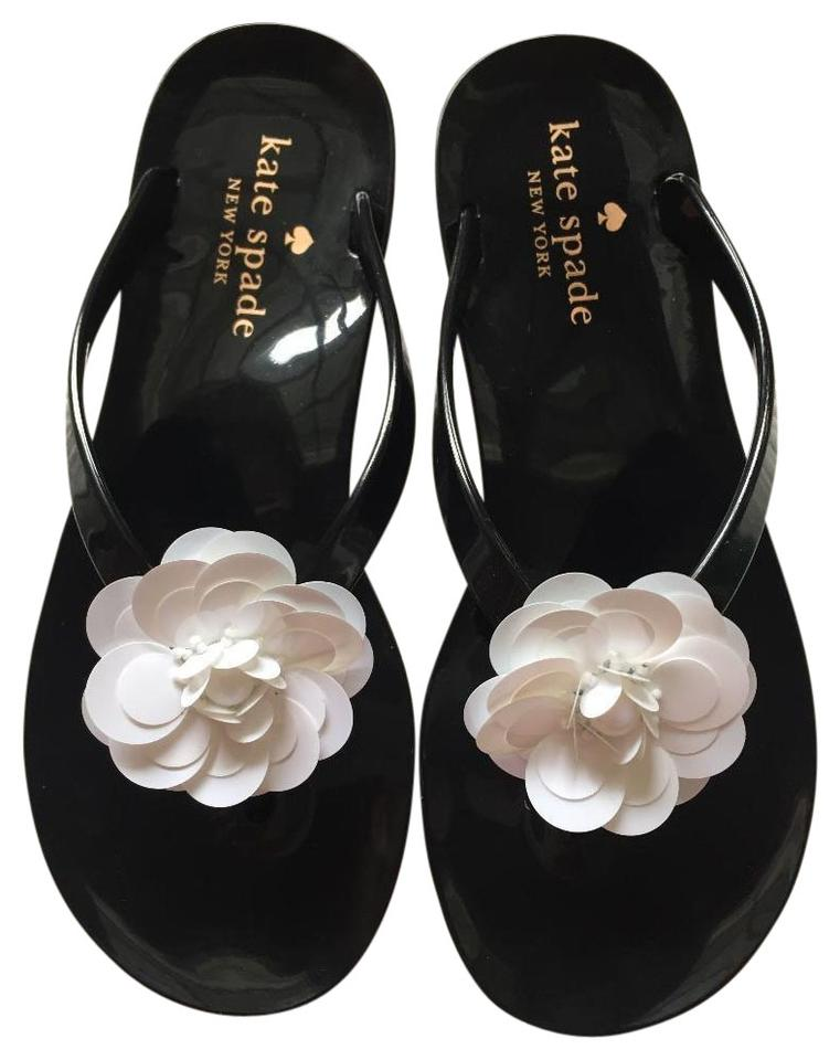 5a54766a6e9c Kate Spade Black Fiorina with White Flower Rubber Flip Flops Sandals ...