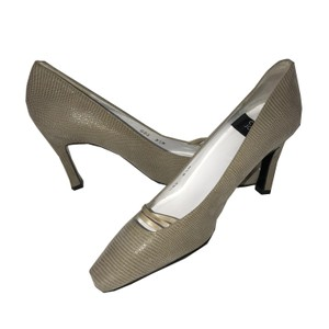Charles Jourdan Vintage Suede Croc-embossed Taupe Pumps