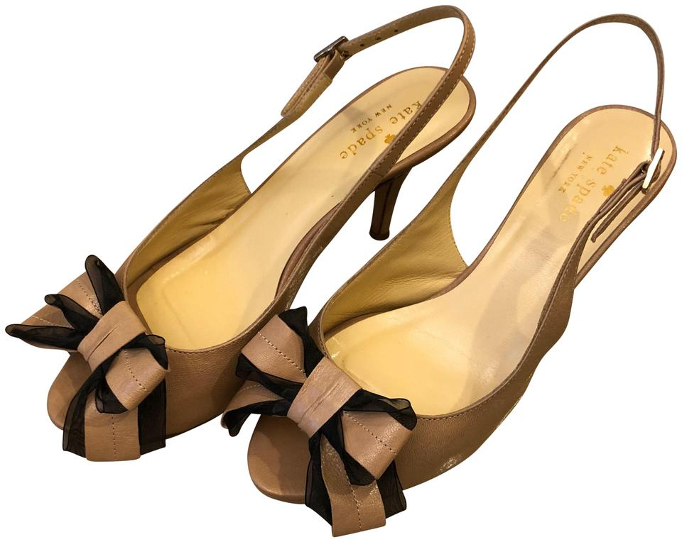 7b5a8c55cc74 Kate Spade Kitten Heel Peep Toe Leather Bow Tan with black accent Pumps  Image 0 ...