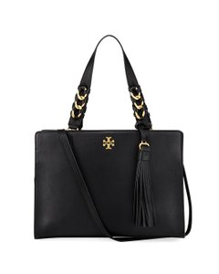 Tory Burch Leather Gold Hardware Shoulder Crossbody Satchel in Black
