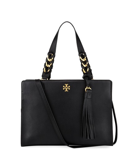 Tory Burch Leather Gold Hardware Shoulder Crossbody Satchel in Black Image 0