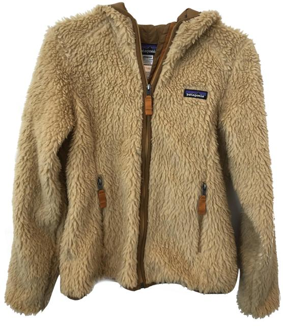 Item - Tan Fuzzy Hooded Jacket Activewear Size 4 (S)