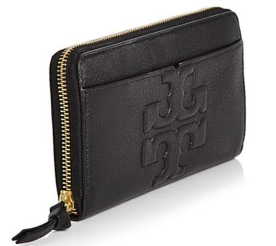 Tory Burch NEW TORY BURCH BLACK LOGO LEATHER CONTINENTAL ZIP WALLET BAG NWT Image 1