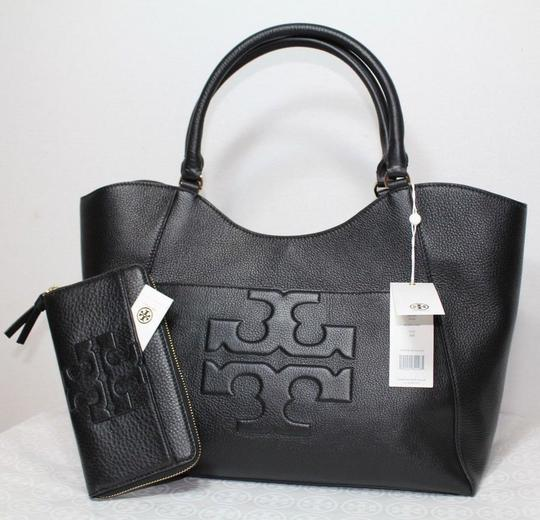 Tory Burch NEW TORY BURCH BLACK LOGO LEATHER CONTINENTAL ZIP WALLET BAG NWT Image 7
