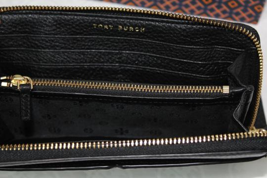 Tory Burch NEW TORY BURCH BLACK LOGO LEATHER CONTINENTAL ZIP WALLET BAG NWT Image 8