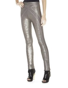 Hervé Leger Silver Distressed Gunmetal Leggings