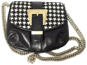 Rebecca Minkoff Leather Chain Gold Hardware Houndstooth Textured Cross Body Bag