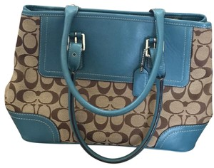 Coach Tote in teal & khaki