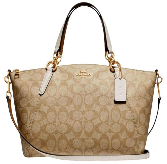 Item - Kelsey Small Pebble Signature Leather F26917 White Canvas Satchel