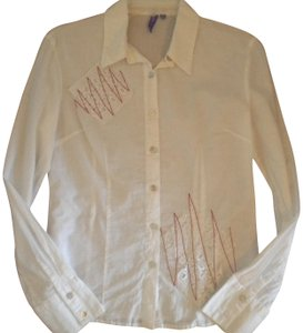 Emma & Sam Embelllished Button Front Sleeve Button Down Shirt White