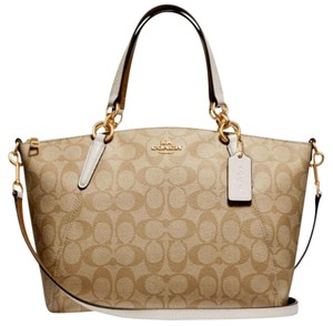 Coach Kelsey Pebbled Leather Crossbody Satchel in white