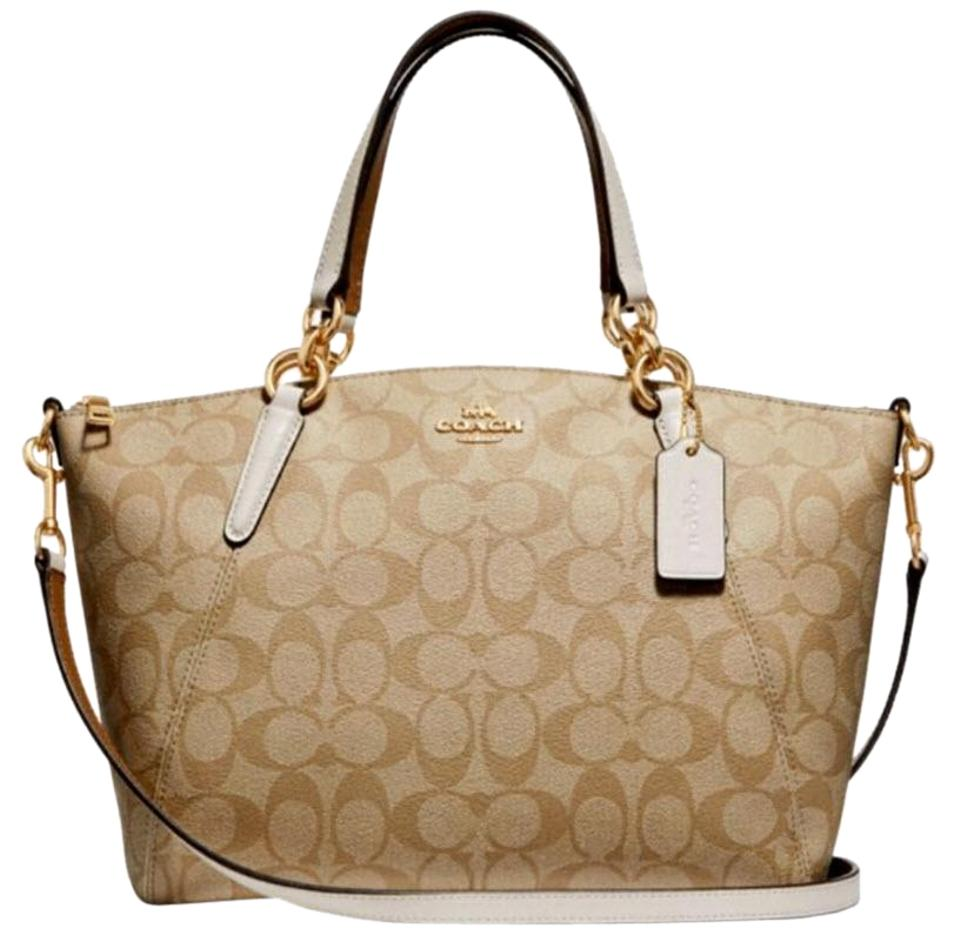 832773012053 Coach Kelsey Small Pebble Signature Leather F26917 White Canvas Satchel